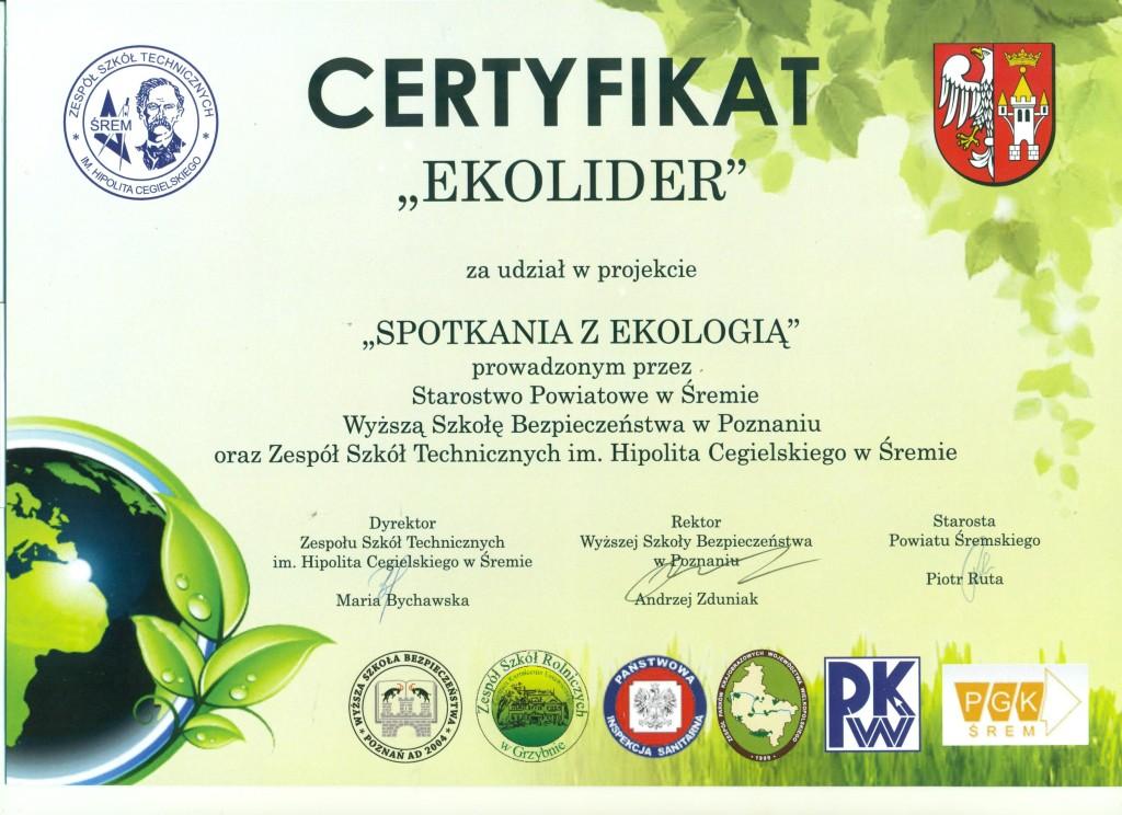 certyfikat EKOLIDER